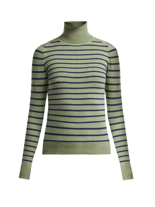 Joostricot Striped Cotton Blend Roll Neck Sweater OnceOff