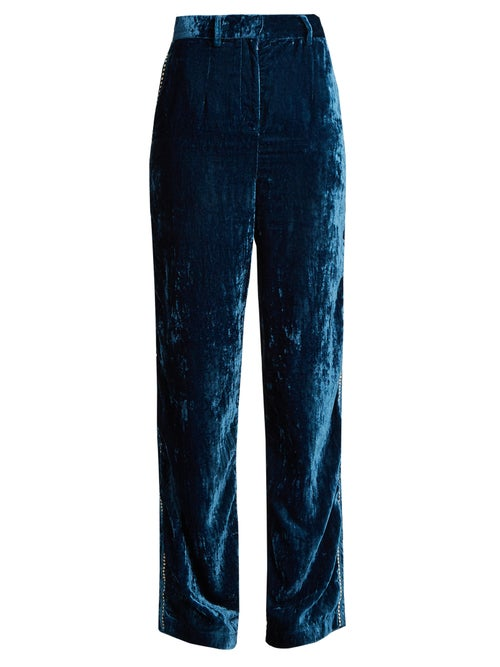 Jupe By Jackie Moritz Embroidered Silk Velvet Trousers OnceOff
