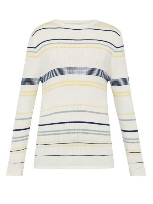 King & Tuckfield Ribbed Knit Striped Wool Sweater OnceOff