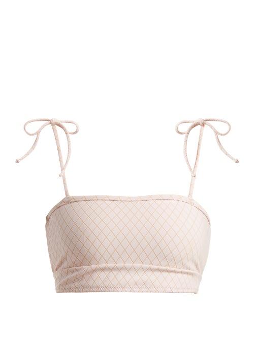Made By Dawn Arrow Tie Shoulder Bandeau Bikini Top OnceOff