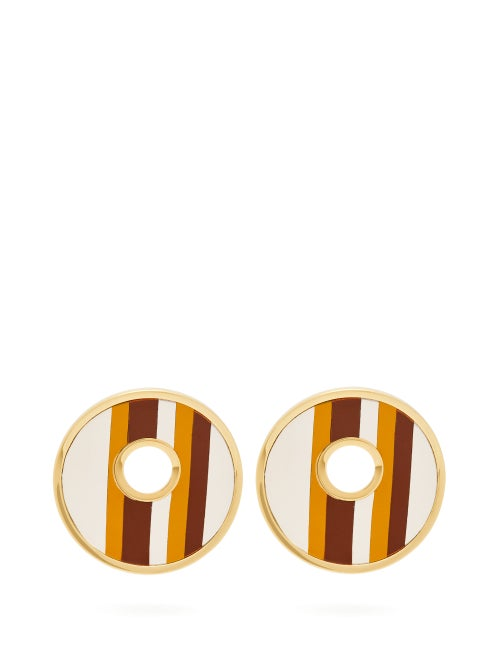 Marni Open Circle Leather Striped Earrings OnceOff
