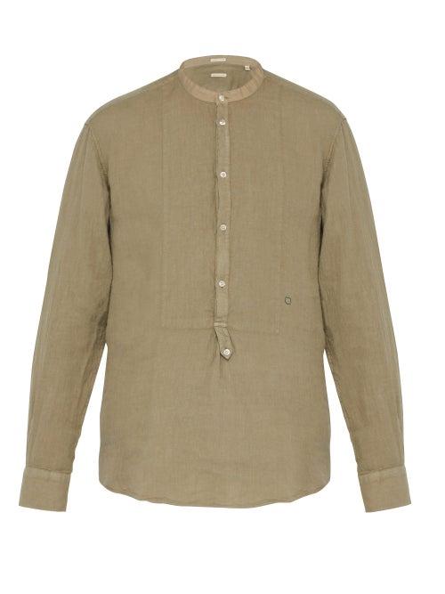 Massimo Alba Collarless Slubbed Linen Shirt OnceOff