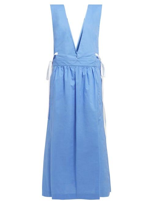 Mm6 Maison Margiela V Neck Tie Detail Cotton Dress OnceOff