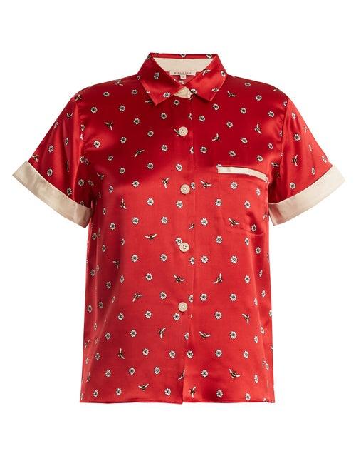 Morgan Lane Staci Daisy Print Silk Pyjama Top OnceOff