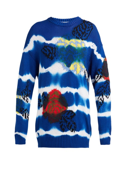Msgm Floral Jacquard Tie Dye Cotton Sweater OnceOff
