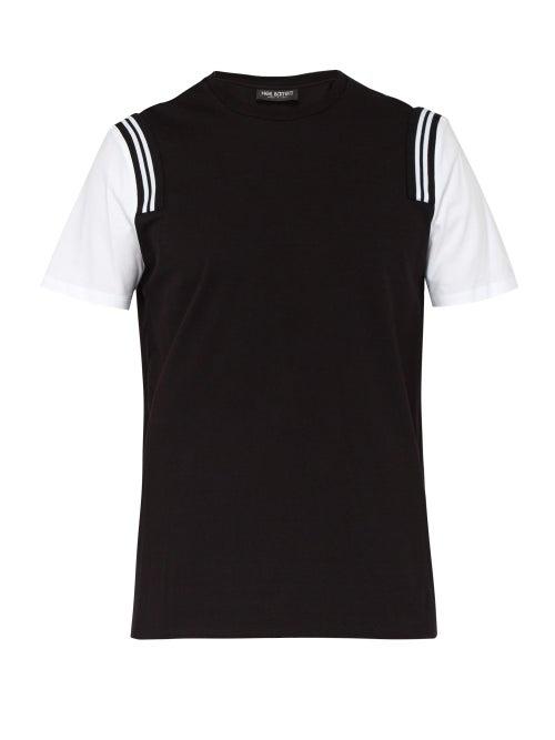 Neil Barrett Striped Shoulder Cotton Blend T Shirt OnceOff