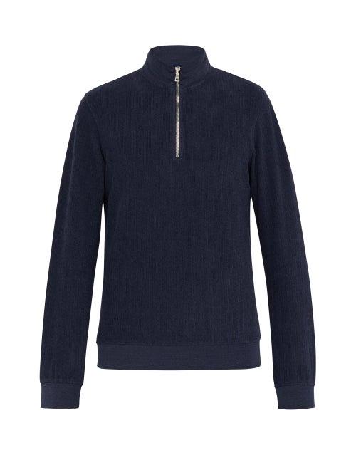 Orlebar Brown Hewson Half Zip Cotton Blend Towelling Sweatshirt OnceOff