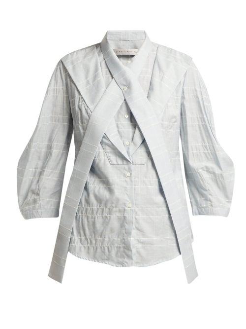 Palmer//Harding Fragment Neck Tie Slubbed Poplin Shirt OnceOff
