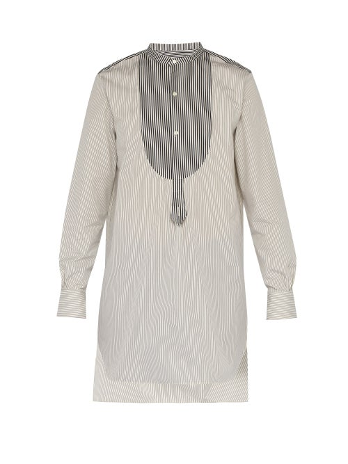 Palmer//Harding Paul Grandad Collar And Bib Cotton Tunic Shirt OnceOff