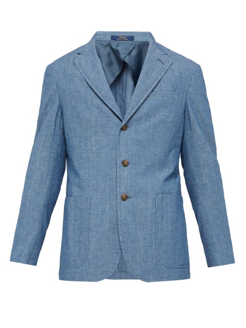 Polo Ralph Lauren Single Breasted Cotton Chambray Blazer OnceOff