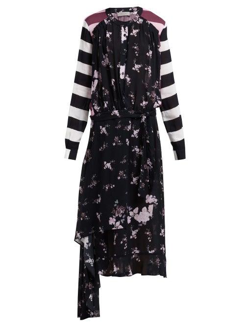 Preen Line Sora Floral And Stripe Print Asymmetric Dress OnceOff
