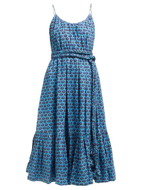 Rhode Lea Belted Abstract Print Cotton Midi Dress OnceOff