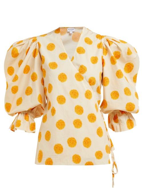 Rhode Valentina Floral Print Cotton Wrap Blouse OnceOff