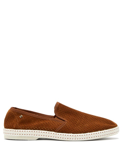 Rivieras Sultan Des Plages Perforated Suede Loafers OnceOff