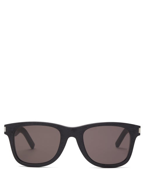Saint Laurent Woodgrain Effect Square Frame Acetate Sunglasses OnceOff
