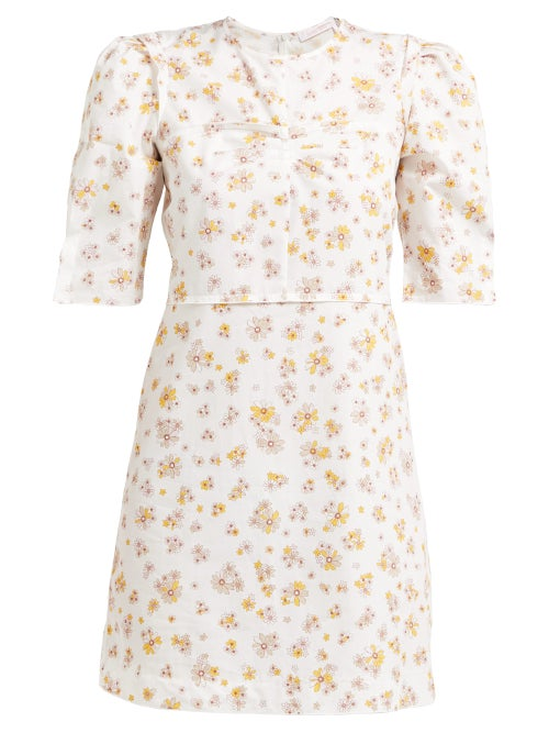 See By Chloé Puffed Sleeve Floral Print Cotton Mini Dress OnceOff