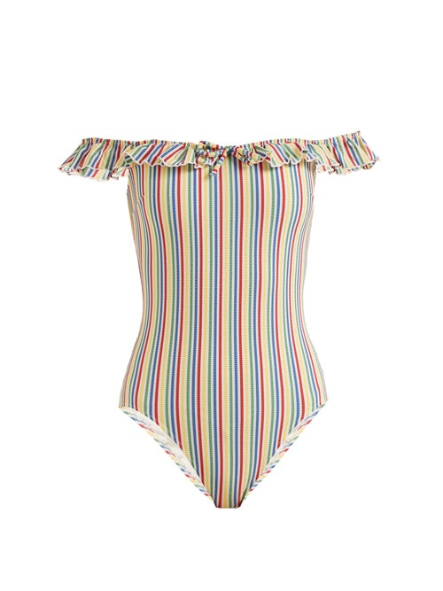 Solid & Striped The Amelia Off The Shoulder Striped Swimsuit OnceOff
