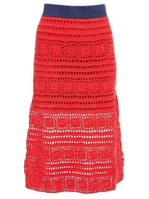 Staud Marlin Cotton Crochet Midi Skirt OnceOff