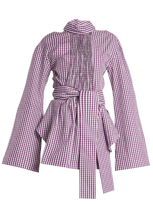 Teija Cut Out Cotton Gingham Wrap Top OnceOff