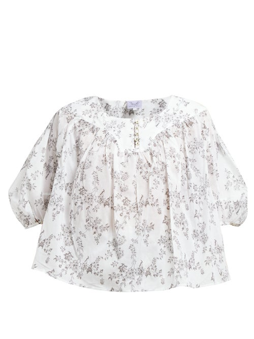 Thierry Colson Gathered Floral Print Cotton Poplin Blouse OnceOff