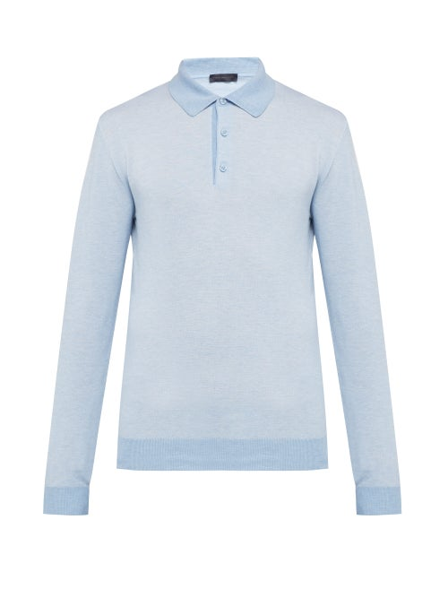 Thom Sweeney Long Sleeved Cotton Piqué Jersey Polo Shirt OnceOff