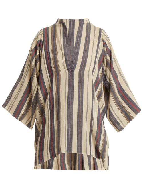 Three Graces London Temple Striped Cotton Blend Top OnceOff