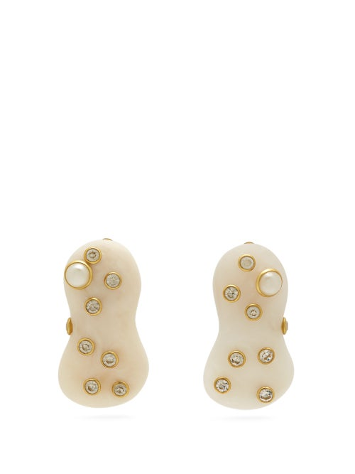 Vanda Jacintho Amoeba Resin And Pearl Earrings OnceOff