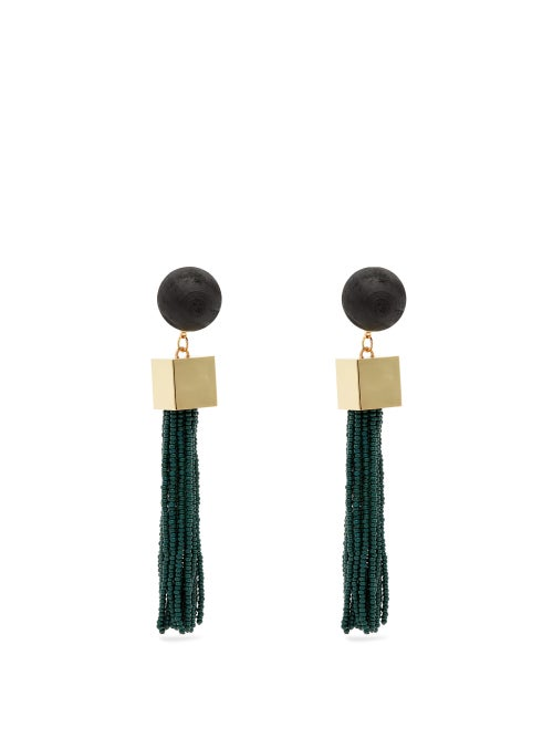Vanda Jacintho Cube Tassel Drop Earrings OnceOff