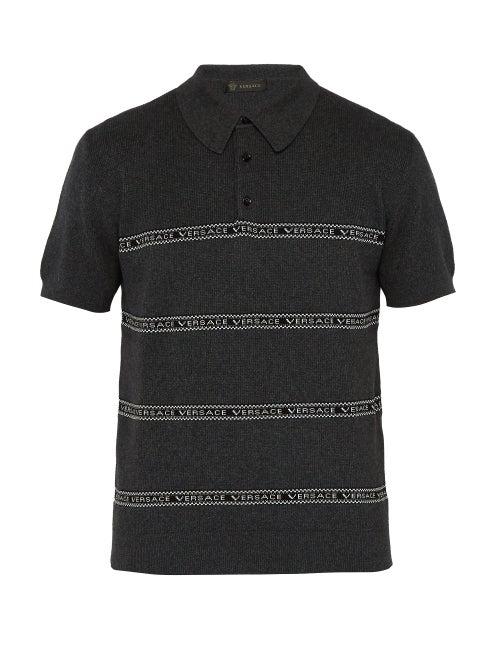 Versace Logo Intarsia Cotton Blend Polo Shirt OnceOff