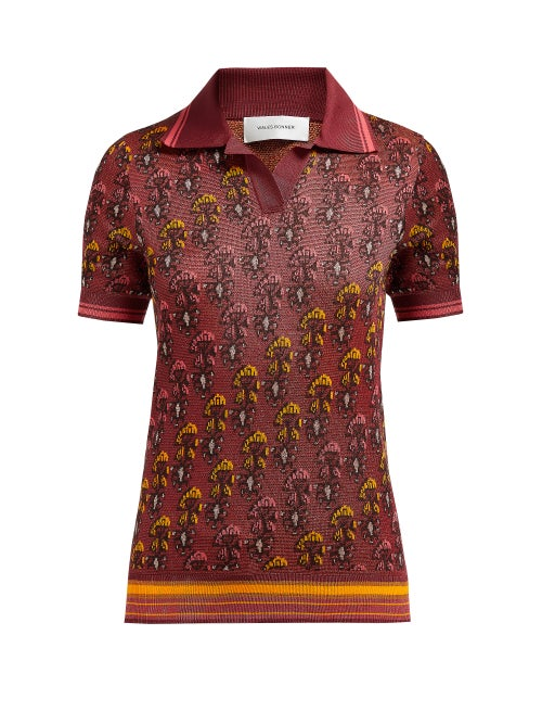 Wales Bonner Floral Jacquard Cotton Blend Polo Shirt OnceOff
